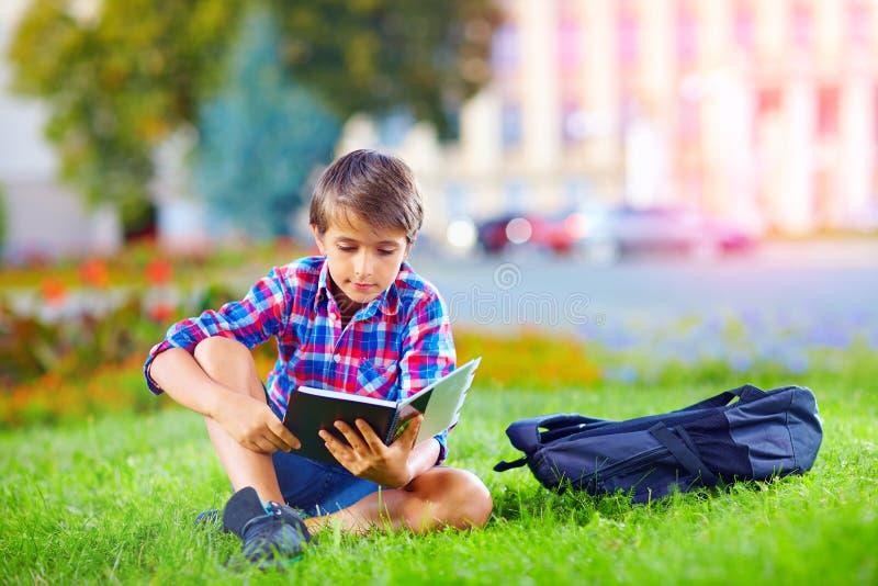 Pojken skolbarnläsebok i färgrikt parkerar arkivbild