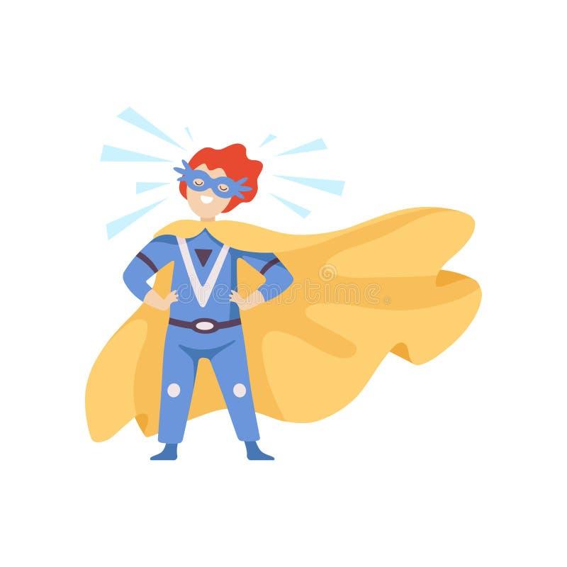 Pojken som bär den blåa Superherodräkten som står i heroiskt, poserar, det toppna barnteckenet i maskering och den guld- uddevekt stock illustrationer