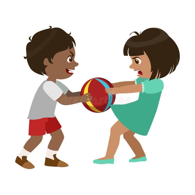 Pojken som bort tar en boll från en flicka, del av Bad, lurar uppförande och trakasserar serie av vektorillustrationer med tecken stock illustrationer