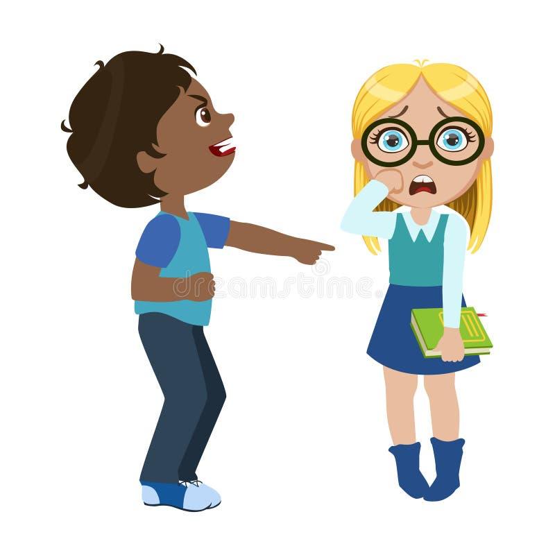 Pojken som förlöjligar en flicka, del av Bad, lurar uppförande och trakasserar serie av vektorillustrationer med tecken som är oh royaltyfri illustrationer
