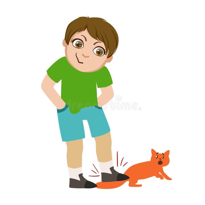 Pojken som kliver på kattsvansen, del av Bad, lurar uppförande och trakasserar serie av vektorillustrationer med tecken som är stock illustrationer