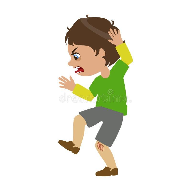 Pojken som ropar och svär, delen av Bad, lurar uppförande och trakasserar serie av vektorillustrationer med tecken som är royaltyfri illustrationer