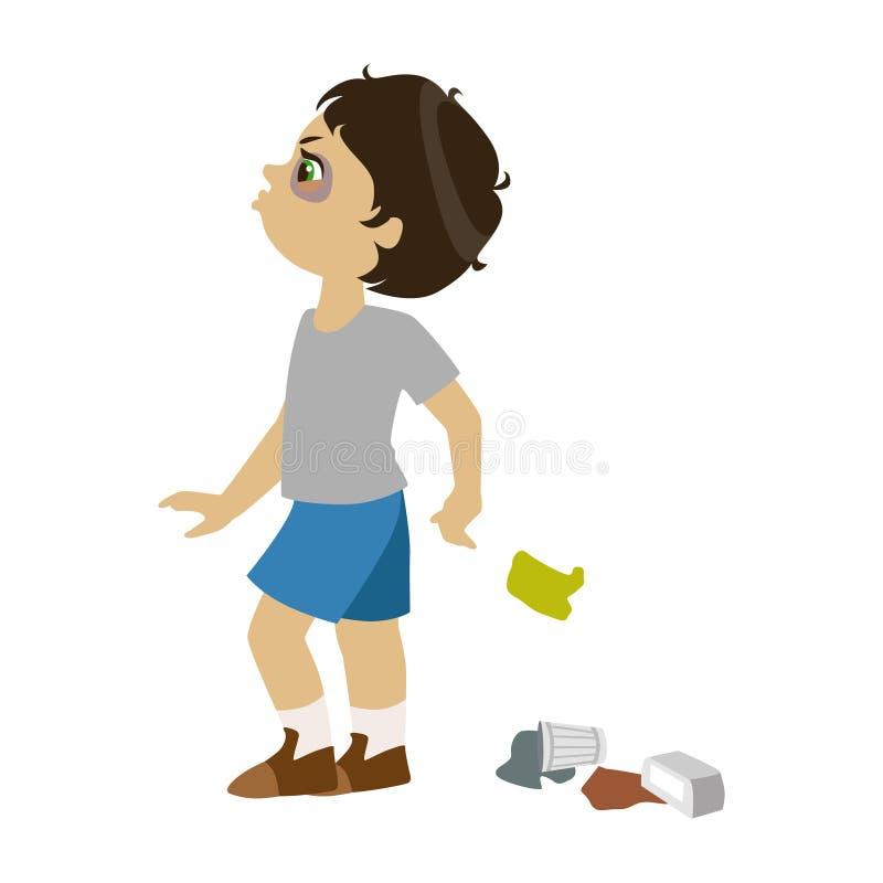 Pojken som skräpar ner, del av Bad, lurar uppförande och trakasserar serie av vektorillustrationer med tecken som är ohyfsade och vektor illustrationer