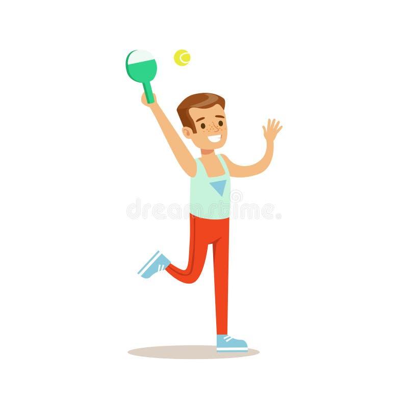 Pojken som spelar badminton, lurar övande olika sportar och fysiska aktiviteter i grupp för fysisk utbildning vektor illustrationer