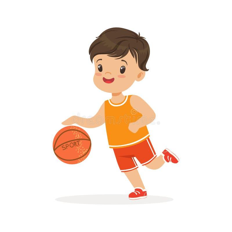 Pojken som spelar basket, spelare flyttar för teckenvektorn för dribbling den färgrika illustrationen vektor illustrationer