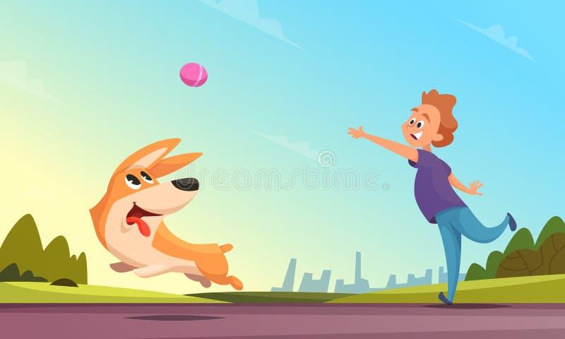 Pojken som spelar med hans husdjur i stads-, parkerar Hund som fångar den lilla bollen vektor illustrationer