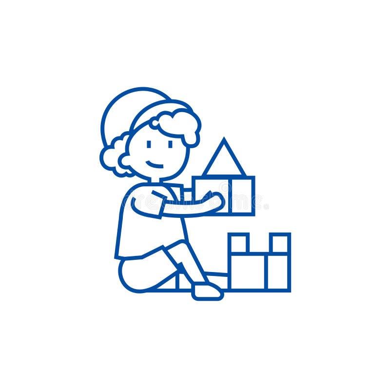 Pojken som spelar med leksaker, ask av tegelstenar, fodrar symbolsbegrepp Pojke som spelar med leksaker, ask av det plana vektors stock illustrationer