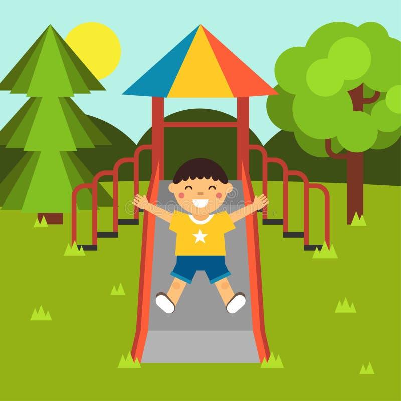 Pojken som spelar på en offentlig stad, parkerar lekplatsen glidbanor Lekplats för barn` s Behandla som ett barn-themed plan mate vektor illustrationer
