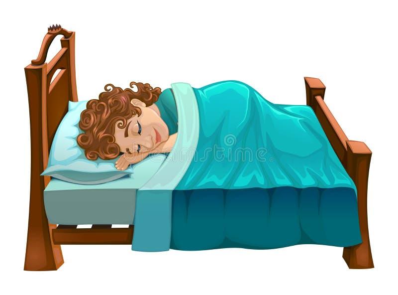 Pojken sover på hans säng royaltyfri illustrationer