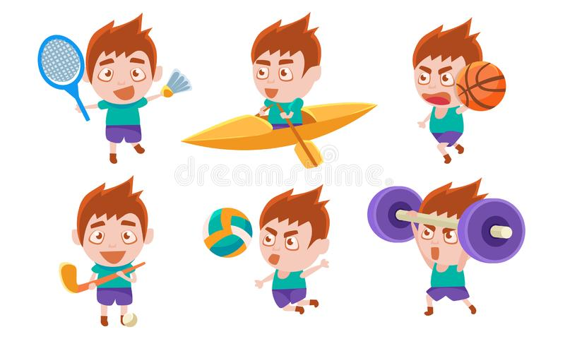 Pojken spelar olika sportset, Pojke Boxing, spelar Hockey, Badminton, Basketball, Volleyball, Lywing Barbell Vector vektor illustrationer