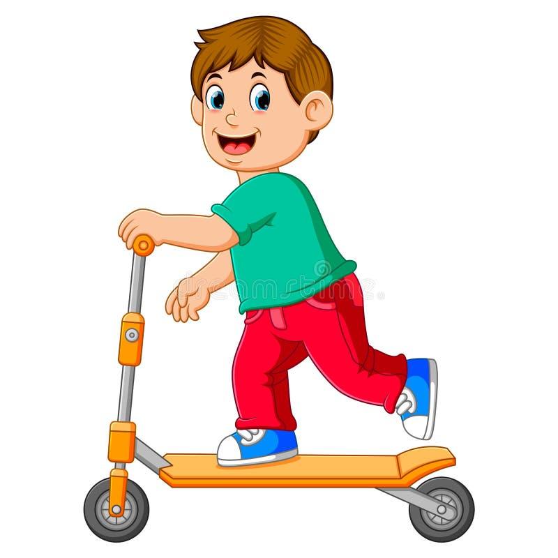 Pojken spelar på den orange sparkcykeln royaltyfri illustrationer