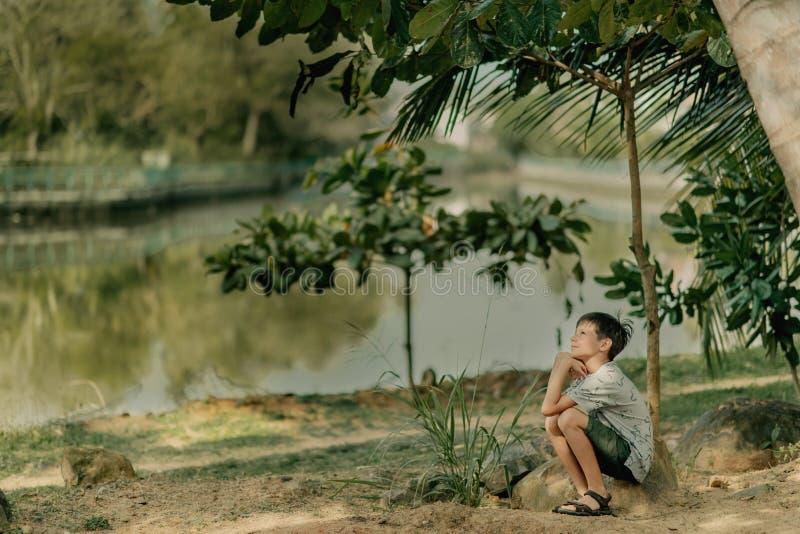 Pojken spelar på vaggar royaltyfria bilder