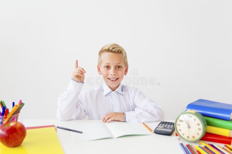 Pojken studerar arkivfoton