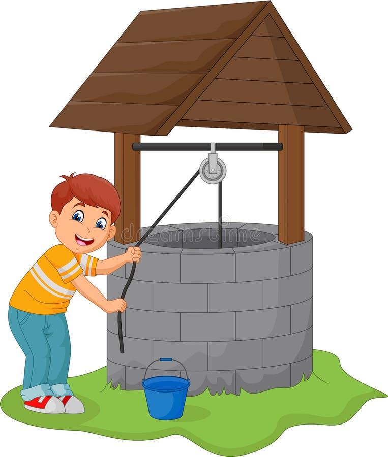 Pojken tar vatten i brunnen vektor illustrationer