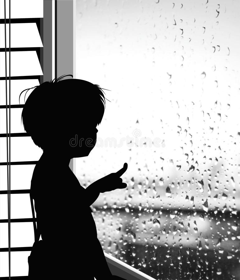 Pojken tittar på regnet på fönstret - silhuette