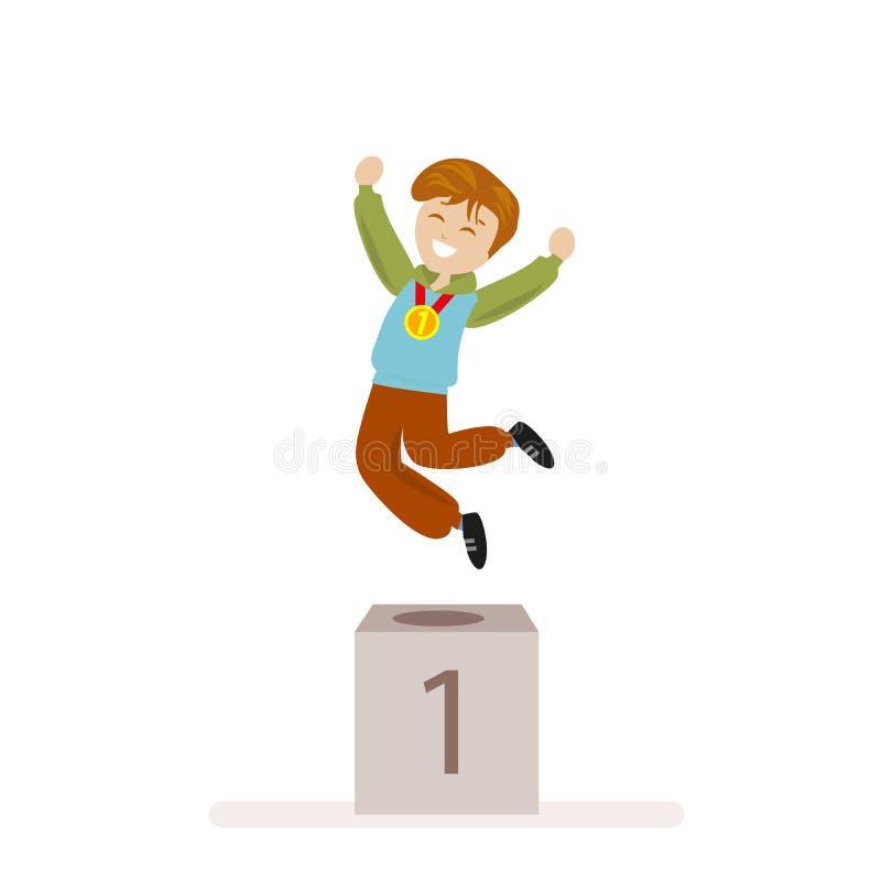 Pojken tog det första stället i sportar Vinnare för guldmedalj för utmärkelseceremoni Plant tecken som isoleras på vit bakgrund v royaltyfri illustrationer