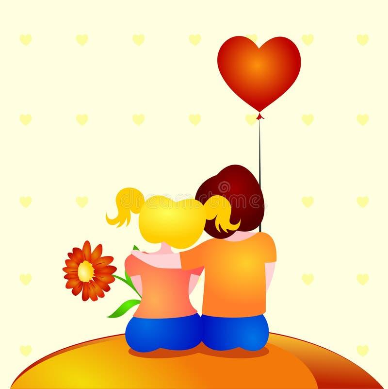 pojkeomfamningförälskelse två royaltyfri illustrationer