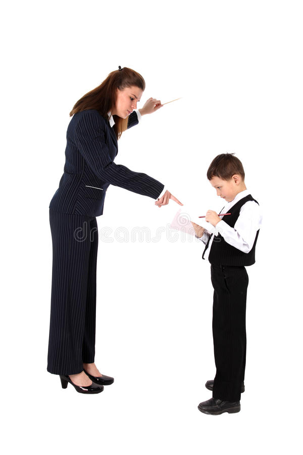 pojkepennlärare arkivfoto