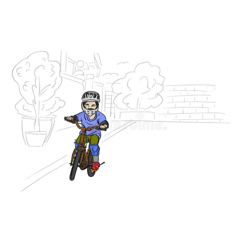 Pojkeridningcykel med den gråa hjälm- och säkerhetsvektorillustrationen med svarta linjer som isoleras på vit bakgrund vektor illustrationer