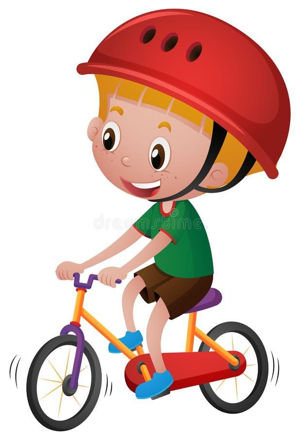Pojkeridningcykel med hans hjälm på vektor illustrationer