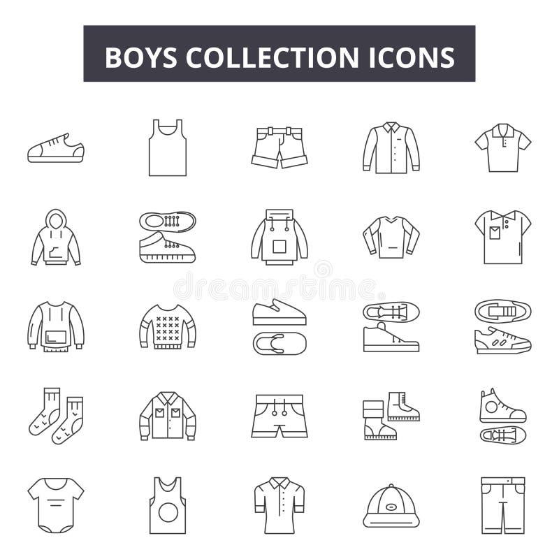 Pojkesamlingslinjen symboler, tecken ställde in, vektorn Begrepp för pojkesamlingsöversikt, illustration: pojken samling, deis vektor illustrationer