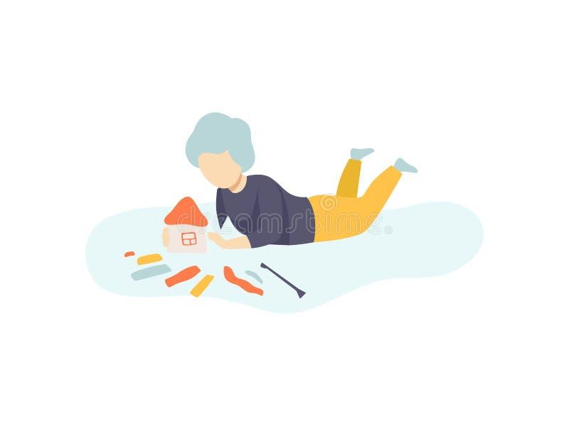 Pojkesammanträde på golv och framställningshus från plastellina, ungekreativitet, utbildning, utvecklingsvektorillustration stock illustrationer