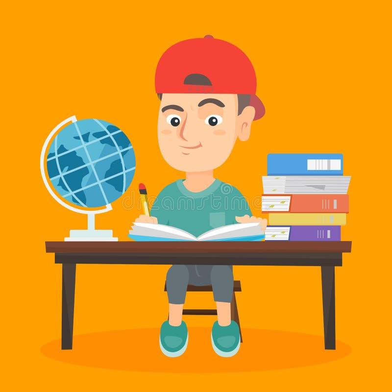 Pojkesammanträde på skrivbordet och handstilen i anteckningsbok vektor illustrationer