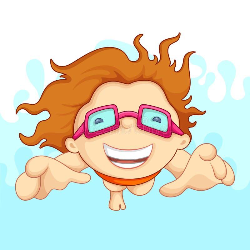 pojkesimning vektor illustrationer