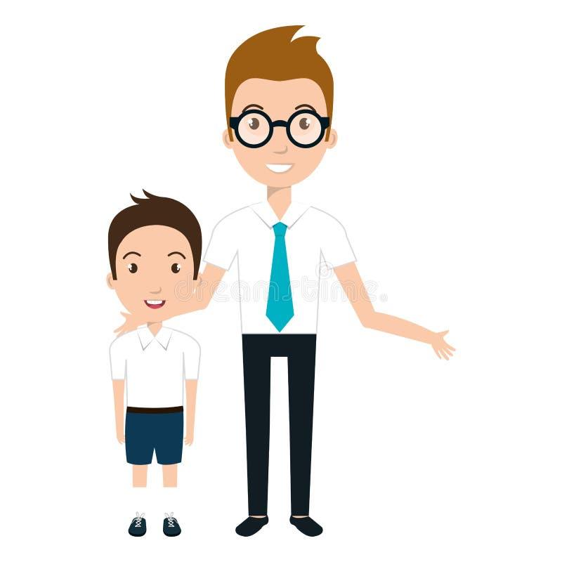 Pojkestudenttecken med den lärare isolerade symbolen royaltyfri illustrationer