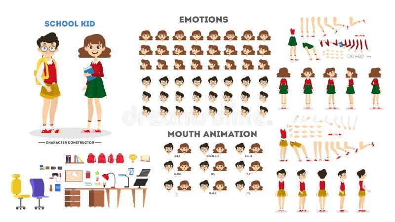 Pojketecken på grillfestuppsättningen för animering stock illustrationer