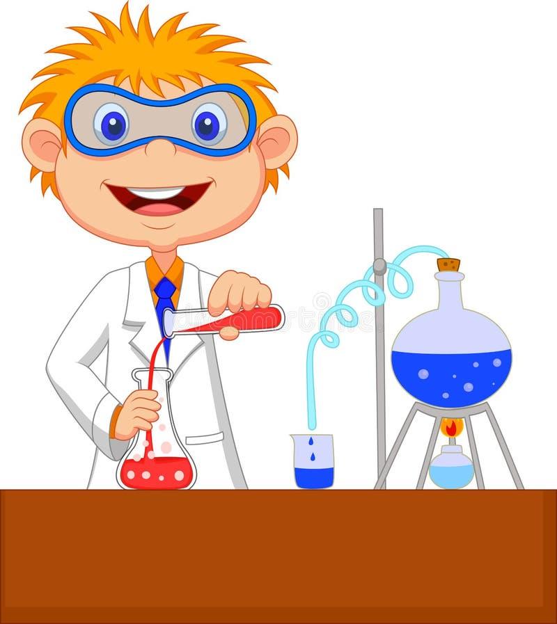 Pojketecknad film som gör kemiskt experiment stock illustrationer