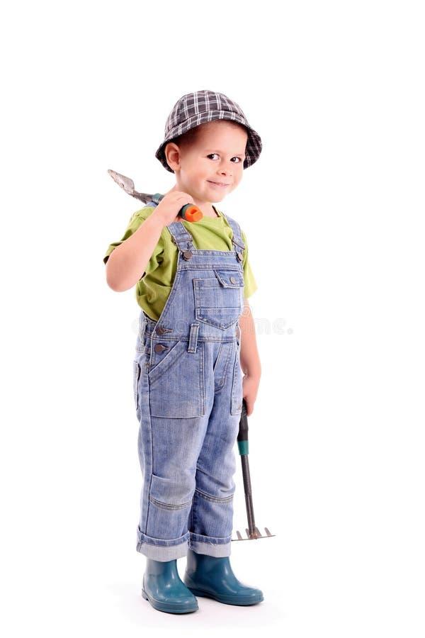 pojketrädgårdsmästare arkivbild