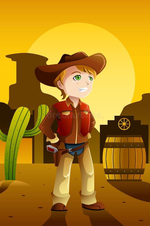 Pojkeuppklädd som en cowboy stock illustrationer