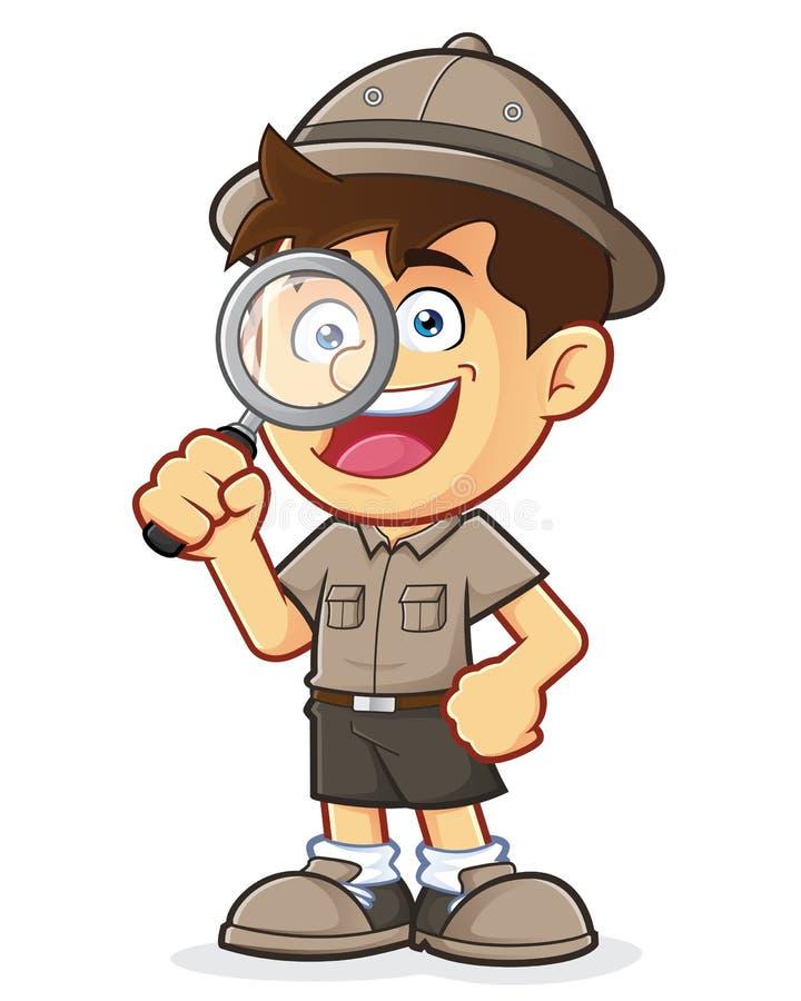 Pojkscout eller utforskare Boy med förstoringsglaset vektor illustrationer