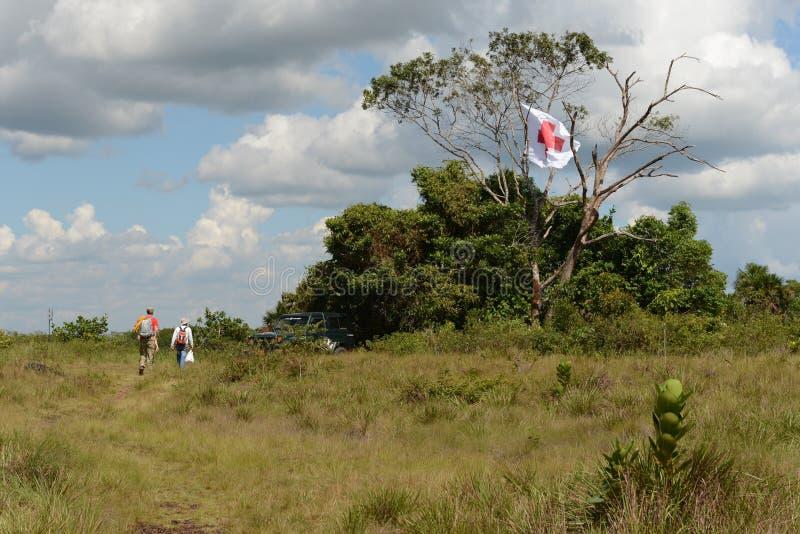 Pojkscoutlägret nära staden av San Jose Del Guaviare royaltyfri foto