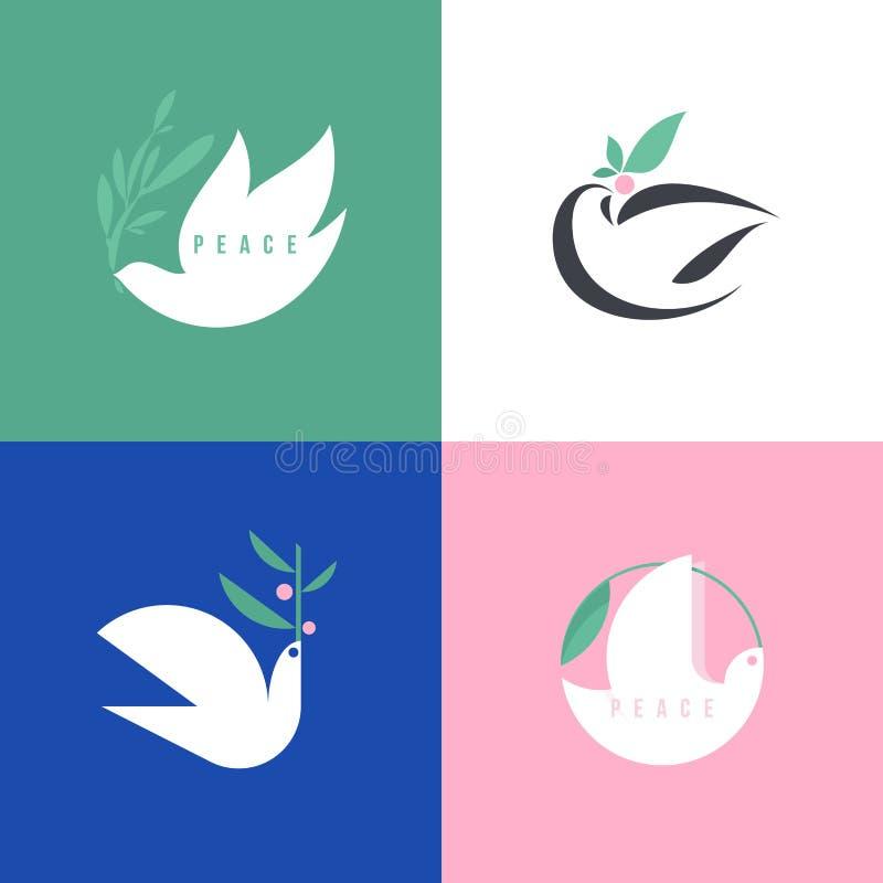 Pokój gołąbka Mieszkanie stylowa wektorowa ikona lub logo szablon biały gołąb z gałązką oliwną ilustracji