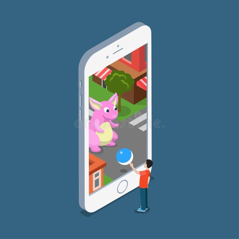 Pokémon plano va smartphon del hombre del ejemplo del vector ilustración del vector