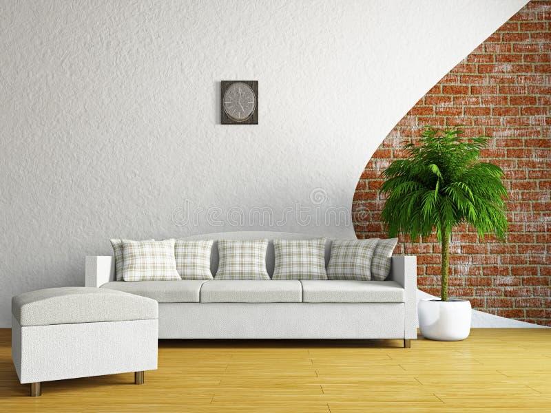 Pokój dzienny z kanapą zdjęcia royalty free
