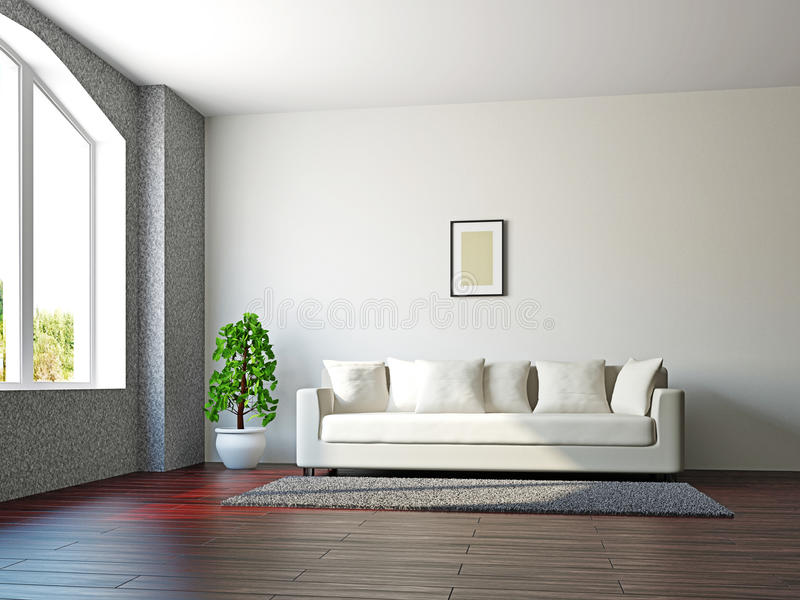 Pokój dzienny z kanapą i rośliną royalty ilustracja