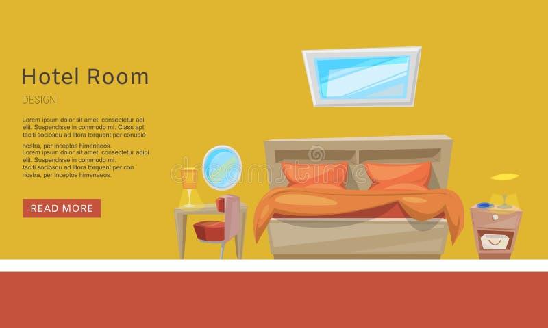 Pokój hotelowy rezerwacja, mieszkanie rezerwacji sieci wektorowy tempate Prezentacja, strona internetowa Izbowi udogodnienia Pokó royalty ilustracja