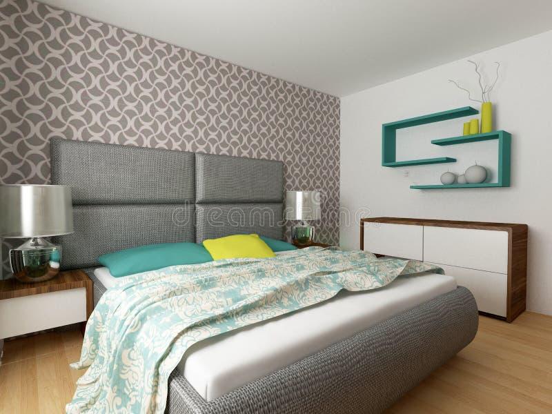 Pokój hotelowy, sypialni wnętrze, nowożytny pokój ilustracji