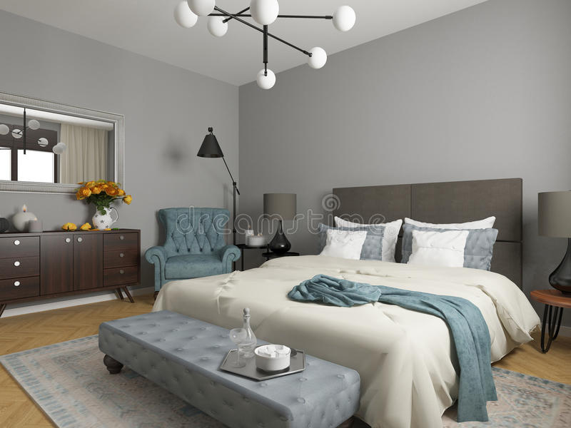 Pokój hotelowy, sypialni wnętrze, nowożytny pokój royalty ilustracja