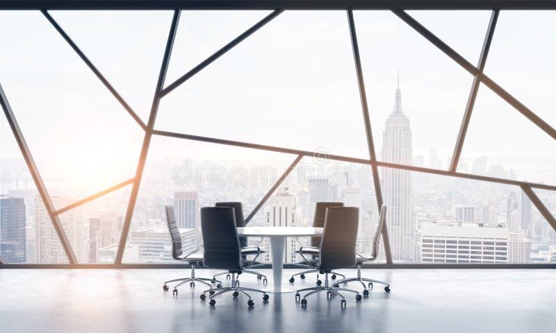 Pokój konferencyjny w jaskrawej współczesnej panoramicznej powierzchni biurowa z Nowy Jork miasta widokiem Pojęcie wysoce fachowy ilustracji