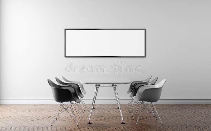 Pokój konferencyjny z wielką biel ścianą w tle 3d illus ilustracja wektor
