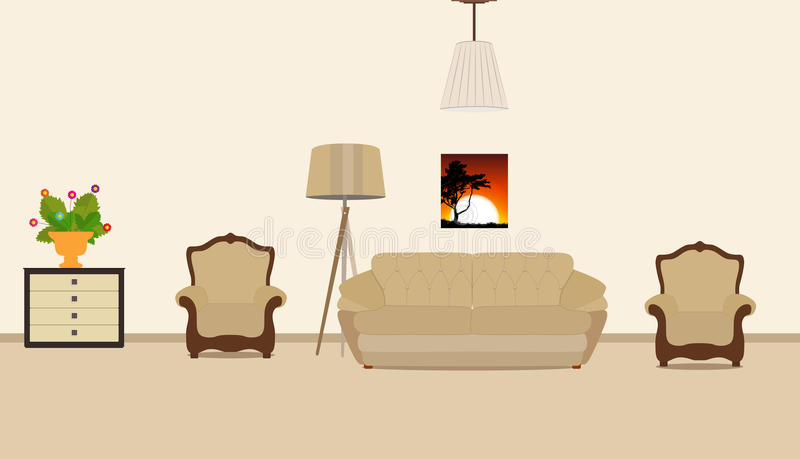 Pokój meblujący z meble Nowożytny mieszkanie stylu wektor Illu royalty ilustracja