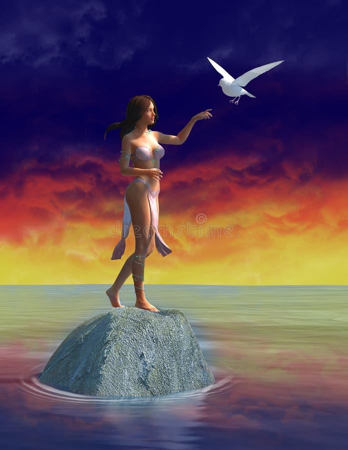 Pokój, miłość, Biała gołąbka, kobieta ilustracja wektor