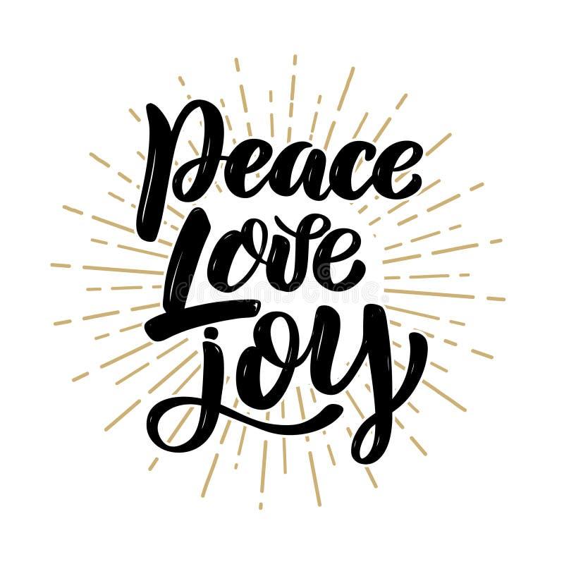 Pokój miłości radość Ręka rysująca motywaci literowania wycena Projektuje element dla plakata, sztandar, kartka z pozdrowieniami royalty ilustracja