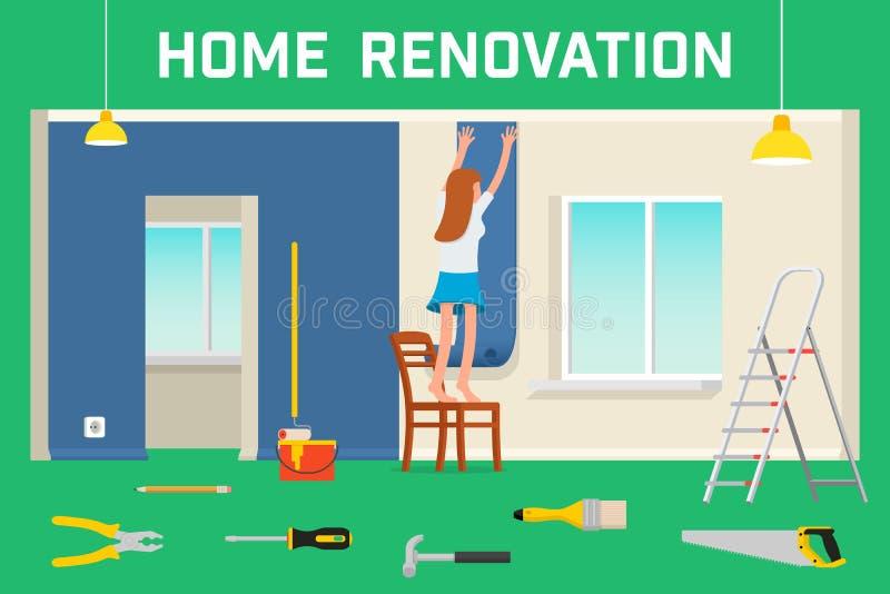 Pokój naprawa w domu Wewnętrzny odświeżanie w mieszkaniu i domu Mieszkanie stylowa wektorowa ilustracja ilustracji