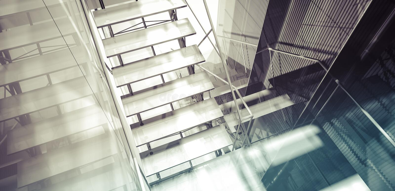 Pokój. Nowożytny biurowy wnętrze, schodki, czyści przestrzeń w biznesowych bu ilustracja wektor