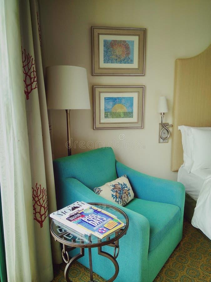 Pokój przy Atlantis hotelem przy palmową wyspą obraz royalty free